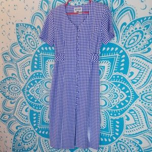 Vintage 90s Blue and White Gingham Dress Maxi 8 M